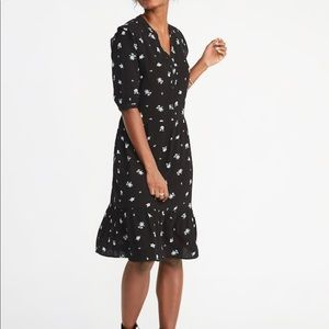 Old Navy waist defined shirt dress black ditsy flo